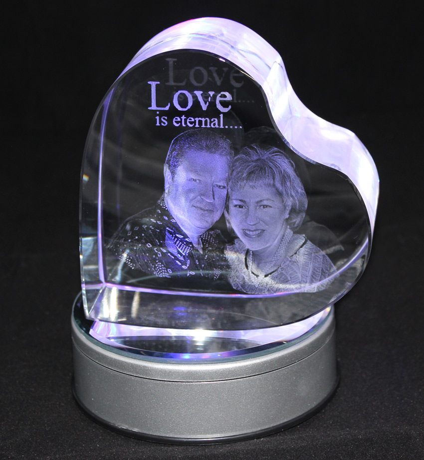 3D Heart Photo Crystal Large 120x120x60mm
