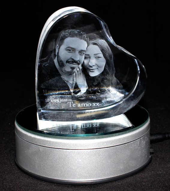 3D Heart Photo Crystal (Small 90x90x50mm)
