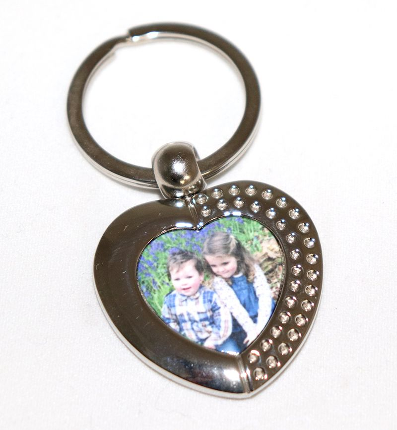 Metal Heart Photo Keyring