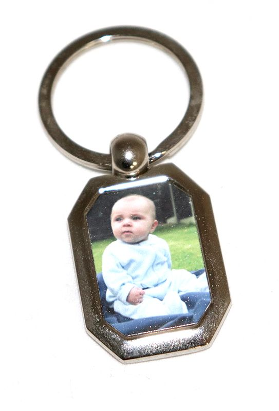 Octagon Metal Photo Keyring